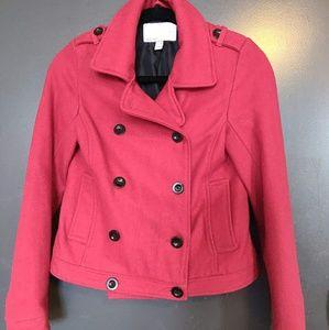 Red short winter coat